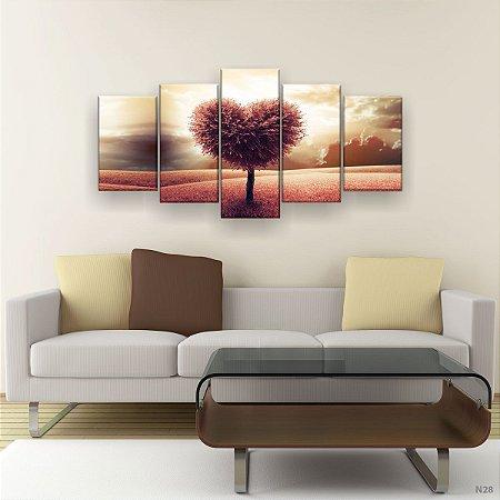 Quadro Decorativo Árvore De Coração 129x61cm Sala Quarto