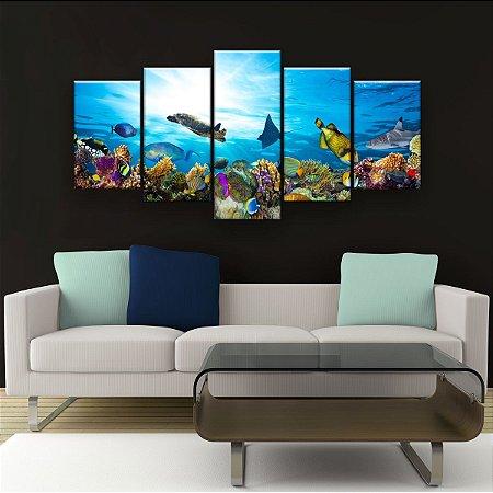 Quadro Decorativo Corais De Peixes Coloridos 129x61cm Sala Quarto