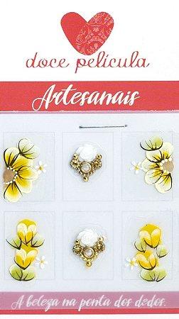 Adesivo de Unha Impressas Flor Amarela 153 - 6un