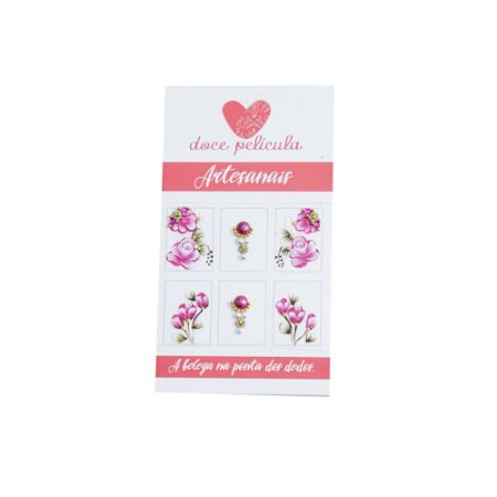Adesivo de Unha Artesanal Flores Rosas 154