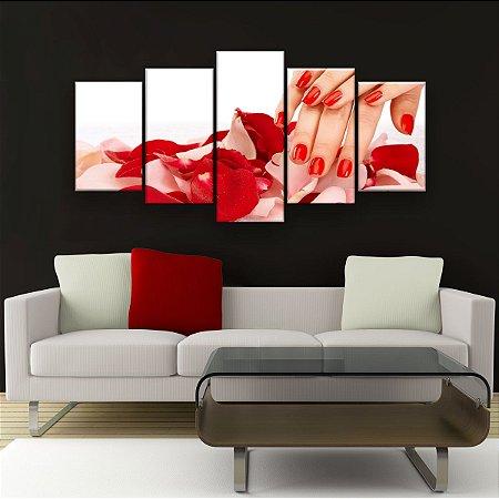 Quadro Decorativo Unha Pétalas Vermelhas 129x61cm Sala Quarto