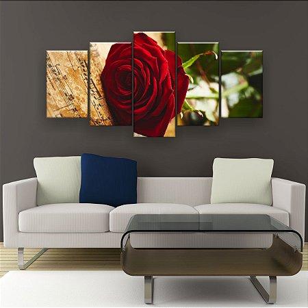 Quadro Decorativo Rosa Vermelha Música 129x61cm Sala Quarto