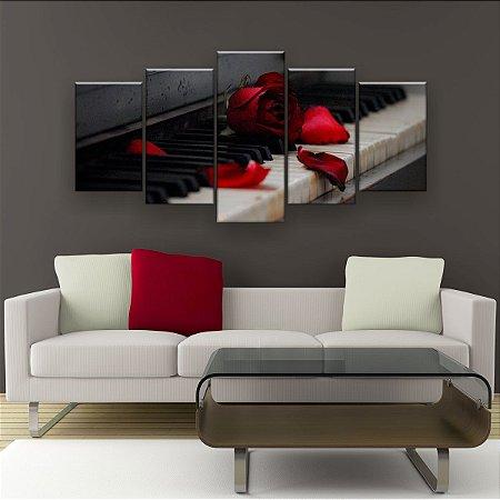 Quadro Decorativo Piano Rosa Vermelha 129x61cm Sala Quarto
