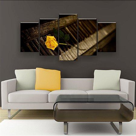 Quadro Decorativo Piano Rosa Amarela 129x61cm Sala Quarto