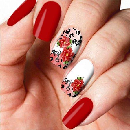 Adesivo de Unha Floral Brasil Flor Vermelha E Onça 106 com 12un