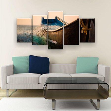 Quadro Decorativo Barco Rede 129x61cm Sala Quarto