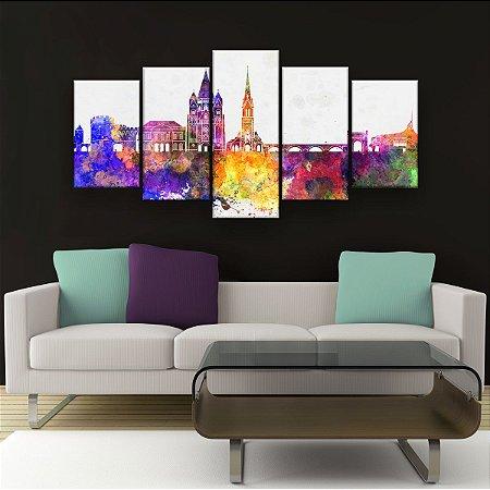 Quadro Decorativo Cidade Colorida 129x61cm Sala Quarto