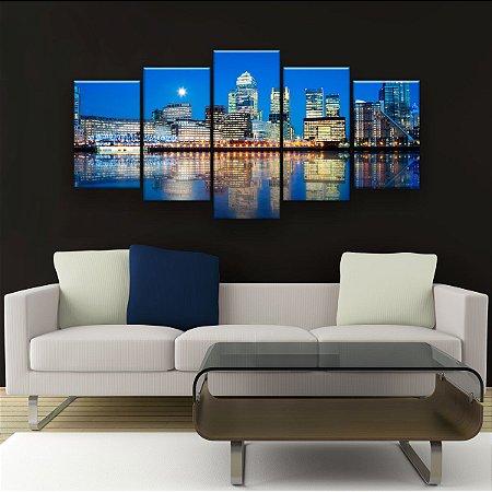 Quadro Decorativo Arranha-Céus De Londres 129x61cm Sala Quarto