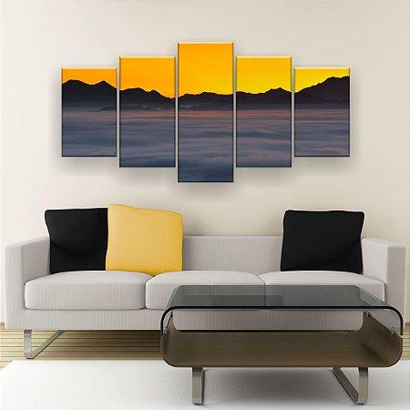 Quadro Decorativo Nevoeiro Céu Amarelo 129x61cm Sala Quarto