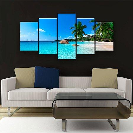 Quadro Decorativo Praia Azul Coqueiros 129x61cm Sala Quarto