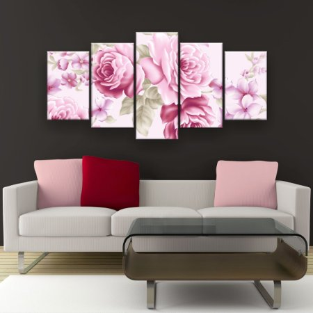 Quadro Decorativo Rosas Rosa Pattern 129x61cm Sala Quarto