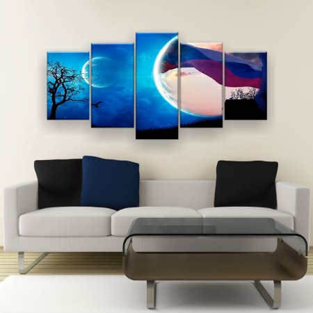 Quadro Decorativo Lua Planeta Casa 129x61cm Sala Quarto