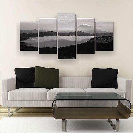 Quadro Decorativo Nevoeiro Preto Branco 129x61cm Sala Quarto