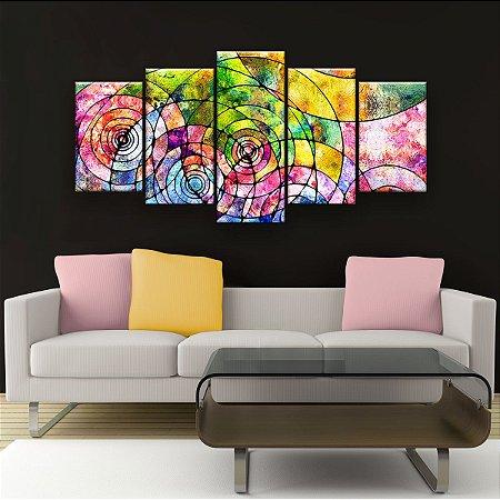 Quadro Decorativo Pintura Círculos Dentro de Círculos 129x61cm Sala Quarto