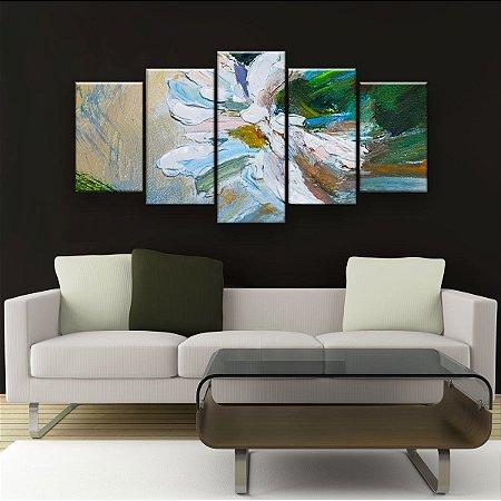 Quadro Decorativo Pintura Flor Branca 129x61cm Sala Quarto