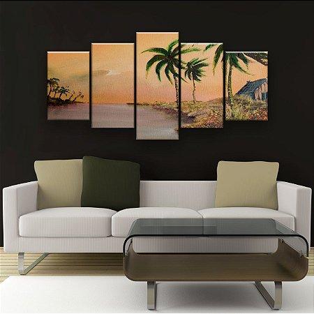 Quadro Decorativo Pintura Paisagem Casa 129x61cm Sala Quarto