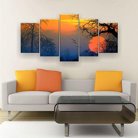Quadro Decorativo Sol Gaivota Árvores 129x61cm Sala Quarto