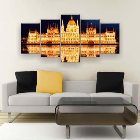 Quadro Decorativo Palácio Iluminado 129x61cm Sala Quarto