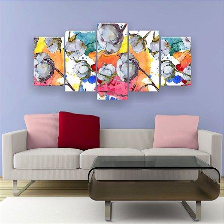 Quadro Decorativo Flor De Algodão 129x61cm Sala Quarto