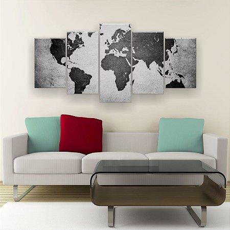 Quadro Decorativo Mapa Mundi Preto Branco 129x61cm Sala Quarto