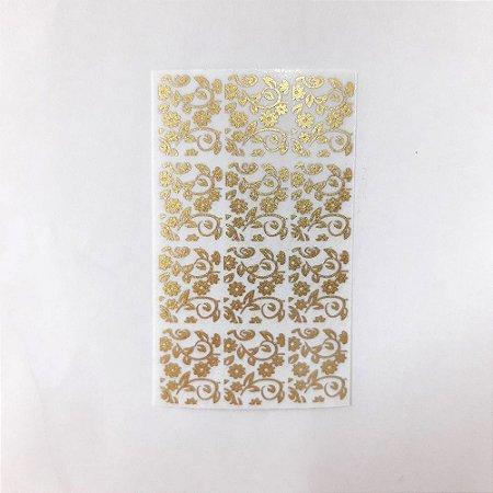 adesivo de unha dourado flores 18 com 12un