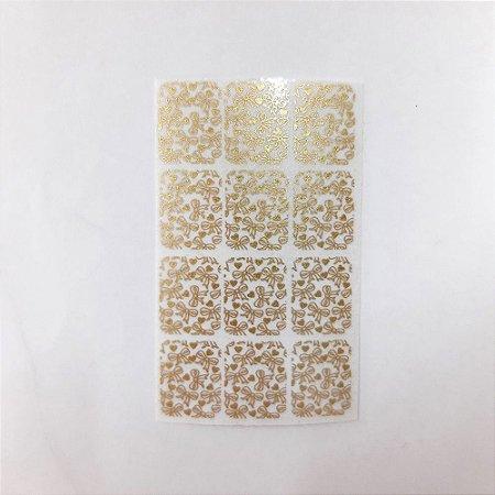 adesivo de unha dourado laços 02 com 12un