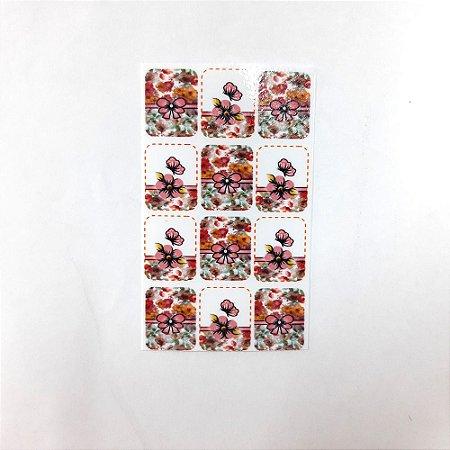 adesivo de unha flores brasil 21 com 12un