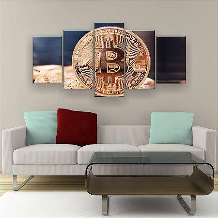 Quadro Decorativo Moeda Bitcoin 129x61cm Sala Quarto