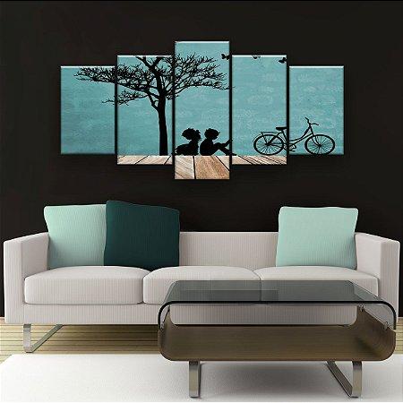 Quadro Decorativo Tree Girl And Boy 129x61cm Sala Quarto