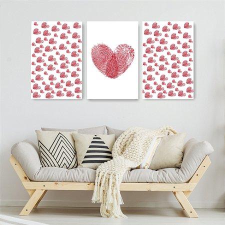 Quadro Decorativo Coração Digital 115x57cm Sala Quarto
