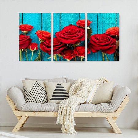 Quadro Decorativo Rosas Vermelhas 115x57cm Sala Quarto