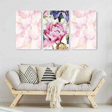 Quadro Decorativo Flor Rosa 115x57cm Sala Quarto