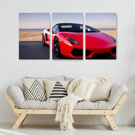 Quadro Decorativo Carro Vermelho 115x57cm Sala Quarto