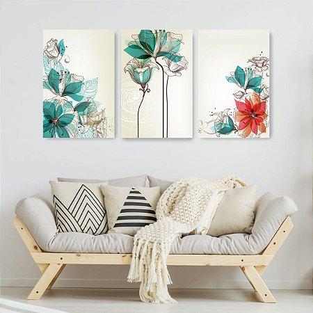 Quadro Decorativo Flores Design Tiffany 115x57cm Sala Quarto