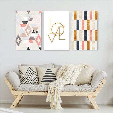 Quadro Decorativo Love Escandinavos 115x57cm Sala Quarto