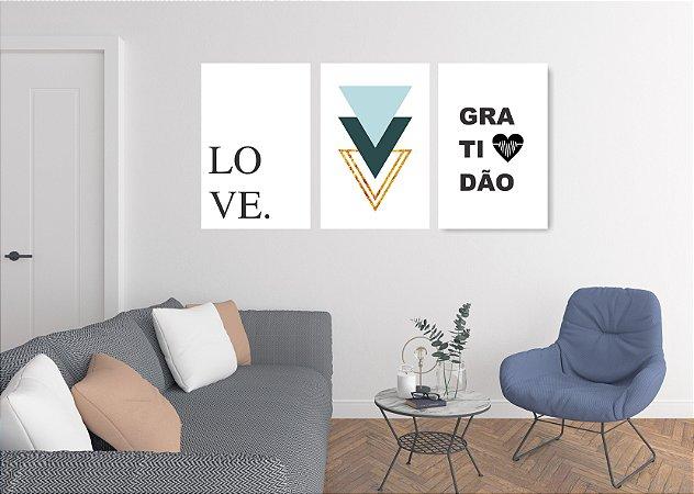 Quadro Decorativo Love Gratidão 115x57cm Sala Quarto