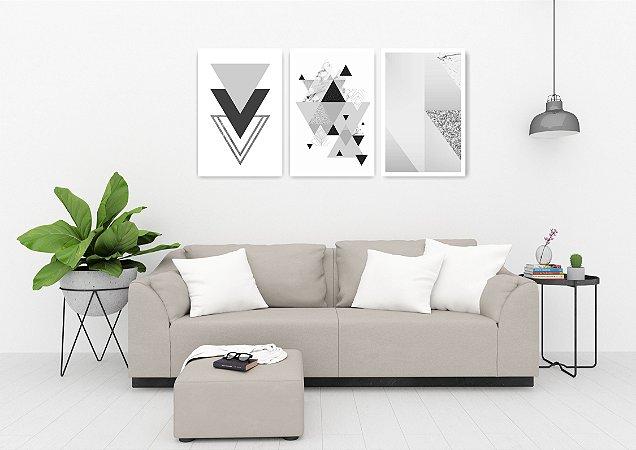 Quadro Decorativo Triângulos Cinza Glitter 115x57cm Sala Quarto