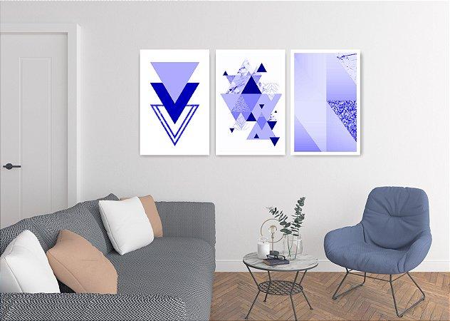 Quadro Decorativo Triângulos Blue Glitter 115x57cm Sala Quarto