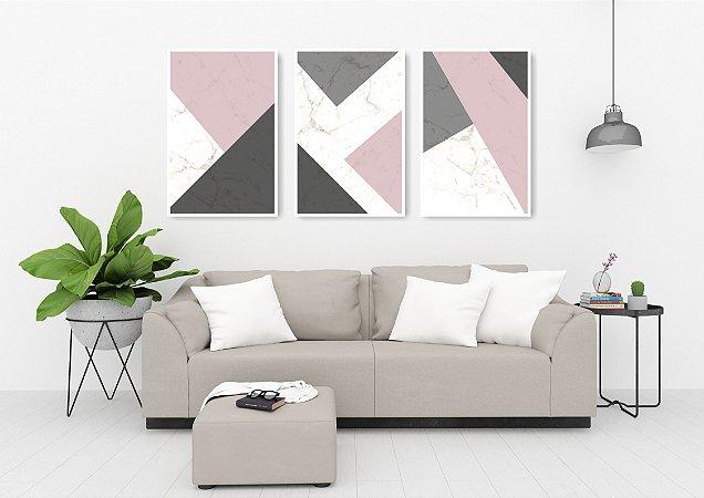 Quadro Decorativo Abstrato Rose 115x57cm Sala Quarto