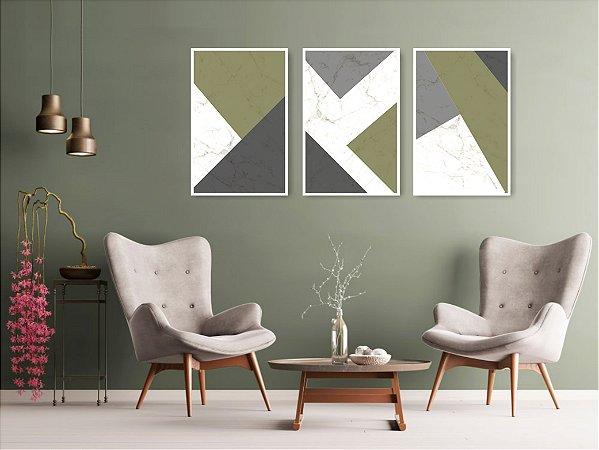 Quadro Decorativo Abstrato Verde 115x57cm Sala Quarto