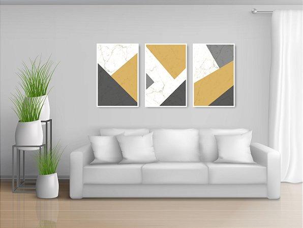 Quadro Decorativo Cimento Yellow 115x57cm Sala Quarto