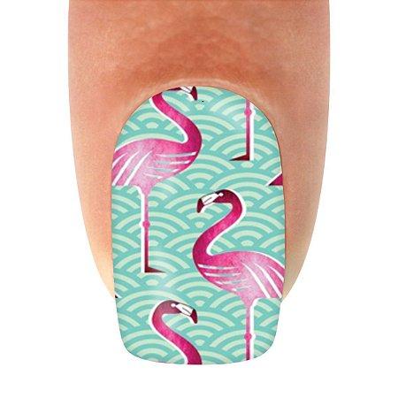 Adesivo de Unha Animal 121 Flamingos - 12un