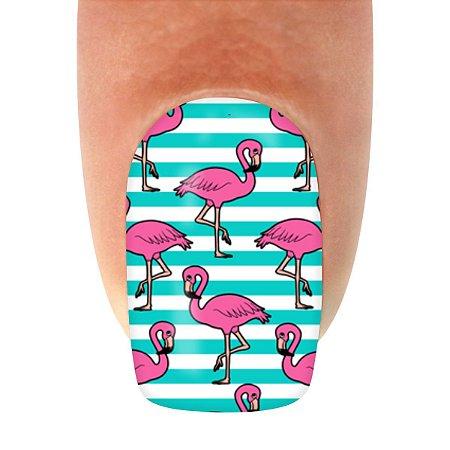 Adesivo de Unha Animal 122 Flamingo Faixas Azul - 12un