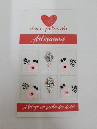 Adesivo de Unha Premium Jóia flor rosa
