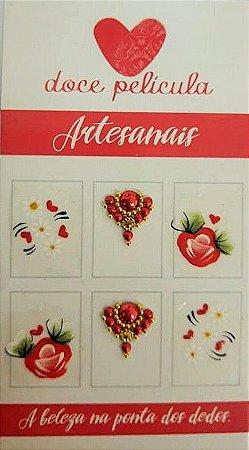 Adesivo de Unha Premium Flor Vermelha 115