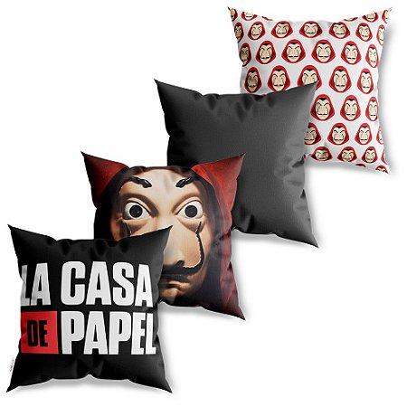 Kit 4 Capas de Almofadas Decorativa La Casa de Papel