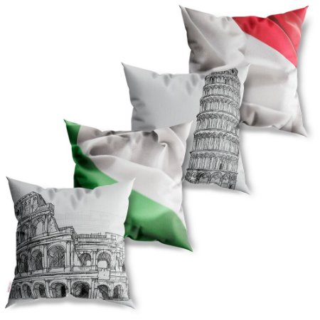 Kit 4 Capas de Almofadas Decorativa Itália