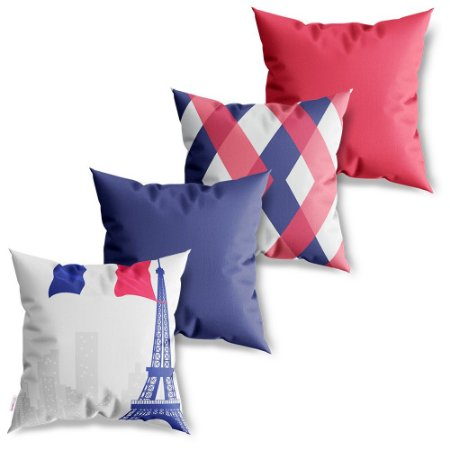 Kit 4 Capas de Almofadas Decorativa França