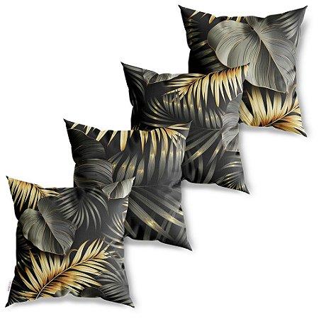 Kit 4 Capas de Almofadas Decorativa Folhagem Preta Dourada