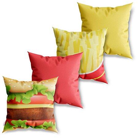 Kit 4 Capas de Almofadas Decorativa Fast Food